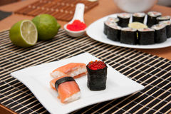 Sushi and gunkan on the plate Royalty Free Stock Image
