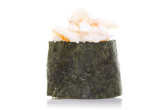 Sushi gunkan with shrimp isolated Royalty Free Stock Photography