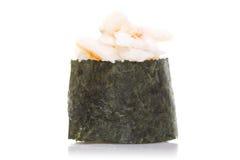Sushi gunkan with shrimp isolated royalty free stock photography