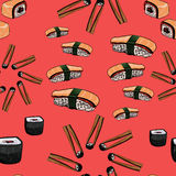 Sushi hand drawing background Royalty Free Stock Image
