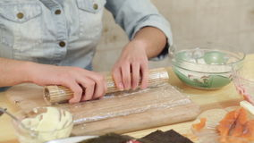 Sushi handmade roll stock video