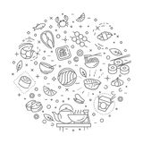 Sushi havs- översiktssymboler också vektor för coreldrawillustration vektor illustrationer