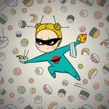 Sushi hero chef of japanese cuisine. Sushi super hero chef of japanese cuisine, comics art Royalty Free Stock Photo
