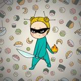 Sushi hero chef of japanese cuisine. Sushi super hero chef of japanese cuisine, comics art Stock Photography