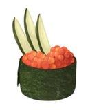 Sushi hokkigal de la almeja de resaca con arroz, pescados y algas en un fondo blanco Imagenes de archivo