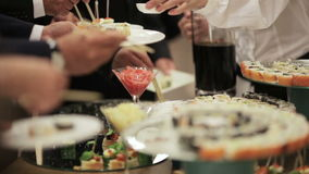 Sushi on holiday reception stock video footage
