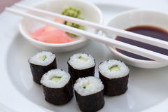 Sushi Hoso Maki. Hoso Maki Sushi Vegetarian with wasabi and ginger royalty free stock images
