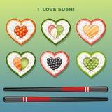 Sushi i formen av hjärta Fotografering för Bildbyråer