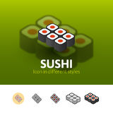 Sushi icon in different style Royalty Free Stock Images