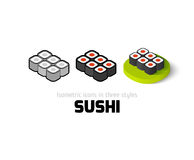 Sushi icon in different style. Sushi icon, vector symbol in flat, outline and isometric style Stock Images