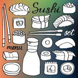Sushi icons set. Hand-drawn cartoon collection of japanese food - rolls. sushi, soy sauce, chopsticks and calligraphy Royalty Free Stock Photo