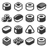 Sushi Icons Set on White Background. Vector Royalty Free Stock Photos