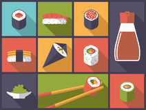 Sushi Icons Vector Illustration Royalty Free Stock Photo