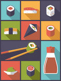 Sushi Icons Vector Illustration Stock Photos