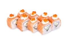 Sushi Ikura. Isolated on a white background Royalty Free Stock Photos