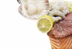 Sushi ingredients mix seafood on white background Stock Photos