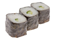 Sushi  isolated. Sushi with cucumber isolated on white Stock Image