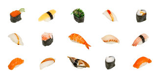 Sushi isolated on white. Traditional asian raw food isolated Royalty Free Stock Photo