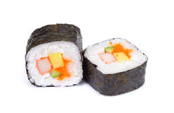 Sushi isolated on white background, Traditional japanese futomak. I roll stuffed with tobiko caviar, tomago omelet, cucumber, crab meat and shrimp stock photo