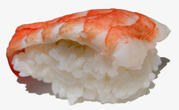 Sushi-isolation. A shrimp sushi isolated Royalty Free Stock Image