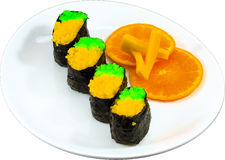 Sushi. The Isolation japanese traditonal food in the decorated container royalty free stock photos