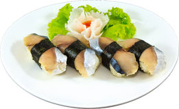 Sushi. The Isolation japanese traditonal food in the decorated container stock image