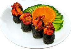 Sushi. The Isolation japanese traditonal food in the decorated container stock photos