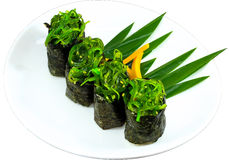 Sushi. The Isolation japanese traditonal food in the decorated container stock images