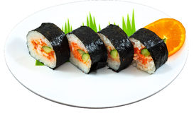 Sushi. The Isolation japanese traditonal food in the decorated container stock photography