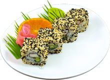 Sushi. The Isolation japanese traditonal food in the decorated container royalty free stock images
