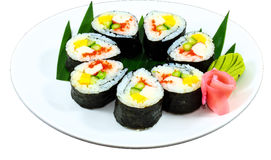 Sushi. The Isolation japanese traditonal food in the decorated container stock photo
