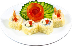 Sushi. The Isolation japanese traditonal food in the decorated container royalty free stock image