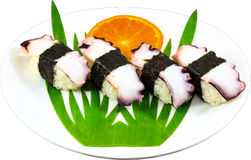 Sushi. The Isolation japanese traditonal food in the decorated container royalty free stock photo