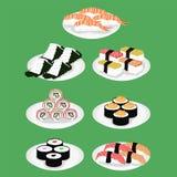 Sushi ist eine japanische Tellerillustration stock abbildung