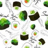 Sushi japão do maki do teste padrão Fotos de Stock