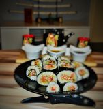 Sushi. Japan lunch food rise vegetable fresh fish Royalty Free Stock Photography