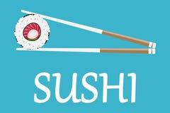 Sushi Japan mit zwei Stöcken lokalisiert Flaches Artdesign des Sushilogos Restaurant japanisch, asiatisches Lebensmittel stock abbildung