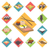 Sushi, Japanese cuisine, food icons set, flat Royalty Free Stock Images
