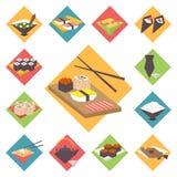 Sushi, Japanese cuisine, food icons set, flat Royalty Free Stock Images