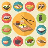 Sushi, Japanese cuisine, food icons set, flat stock photos