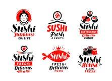 Sushi, Japanese cuisine logo or label. Set of elements for restaurant menu design. Vector illustration. Sushi, Japanese cuisine logo or label. Set of elements Stock Photo