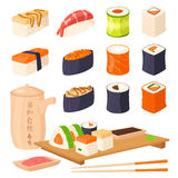Sushi japanese cuisine traditional food flat healthy gourmet icons asia meal culture roll vector illustration. Royalty Free Stock Photos