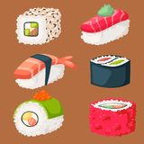 Sushi japanese cuisine traditional food flat healthy gourmet icons asia meal culture roll vector illustration. Royalty Free Stock Photography