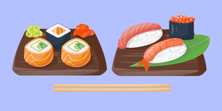 Sushi japanese cuisine traditional food flat healthy gourmet icons and oriental restaurant rice asia meal plate culture Royalty Free Stock Photography