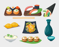 Sushi japanese cuisine traditional food flat healthy gourmet icons and oriental restaurant rice asia meal plate culture Stock Photography