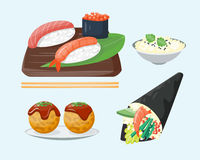 Sushi japanese cuisine traditional food flat healthy gourmet icons and oriental restaurant rice asia meal plate culture Royalty Free Stock Image