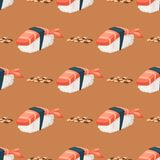 Sushi japanese cuisine traditional food flat healthy gourmet seamless pattern background asia meal culture roll vector Royalty Free Stock Photo