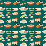 Sushi japanese cuisine traditional food flat healthy gourmet seamless pattern meal culture roll vector illustration. Royalty Free Stock Photo