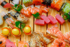 Sushi, Japanese Cuisine With Fresh Seafood Stock Photography