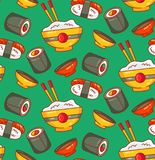 Sushi japanese food colorful seamless vector pattern. Sushi japanese traditional food colorful cartoon doodle outline seamless vector pattern vector illustration